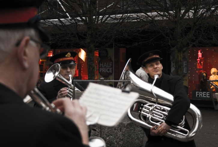 Salvation Army Playing Brass instruments in Shopping Centre, UK