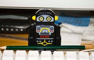 Desktop robot by a keyboard